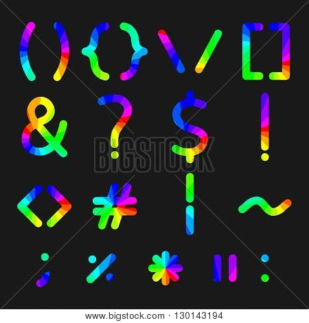 Rainbow alphabet symbols with rounded corners vector illustration.
