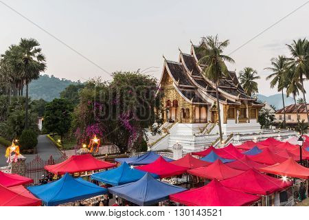 Haw Pha Bang Buddha temple of the National museum complex of Luang Prabang Laos.