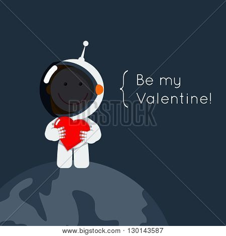 Cute flat style astronaut with heart in his hands. Gretting card eps for valentine's day as cosmic love sign. Space vector illustration