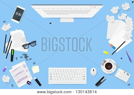 Copywriter work desktop top view. Letters glasses a Cup of coffee notes badge pencils stapler staples highlighter eraser phone sheet of paper a stick crumpled paper sketches.