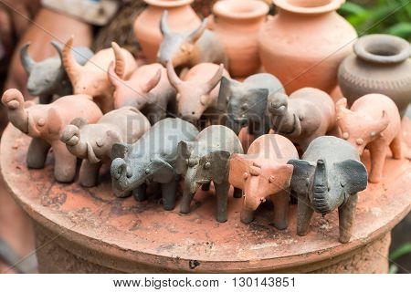 Crafts, souvenirs made of clay. Molding Animals