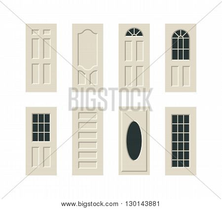 vector doors flat modern illustration icon set