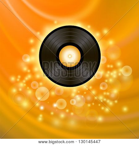 Retro Vinyl Disc on Orange Blurred Background