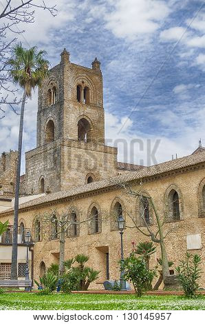 Cloister Of The Cathedral Of Monreale In Palermo. Italy