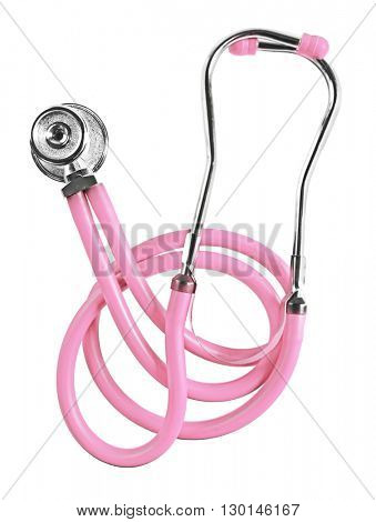 Pink stethoscope, isolated on white