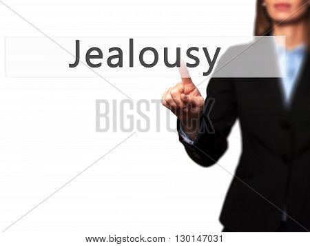 Jealousy - Businesswoman Hand Pressing Button On Touch Screen Interface.