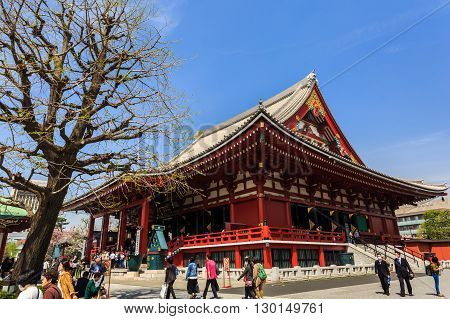 Tokyo Japan - April 9 2016: Tourist visit Sensoji also known as Asakusa Kannon Temple is a Buddhist temple located in Asakusa. It is one of Tokyo's most colorful and popular.