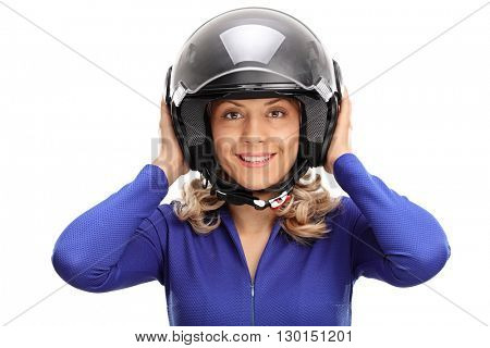 Portrait of a young female car racer with a gray helmet isolated on white background