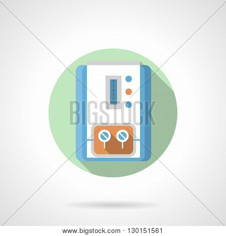 Household appliances and equipment. Gas boiler, device with temperature control. Hot water for bath and heating system. Round flat color style vector icon.