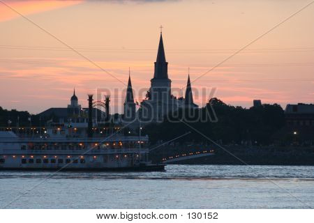 New Orleans Paddlewheel And Cathedral