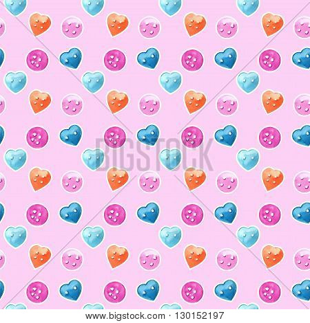 Watercolor multicolor buttons seamless pattern for paper and fabric design