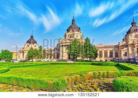 Main Building Of Szechenyi Baths, Hungarian Thermal Bath Complex And Spa Treatments.