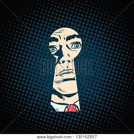 Male face in the keyhole, secret mystery pop art retro style