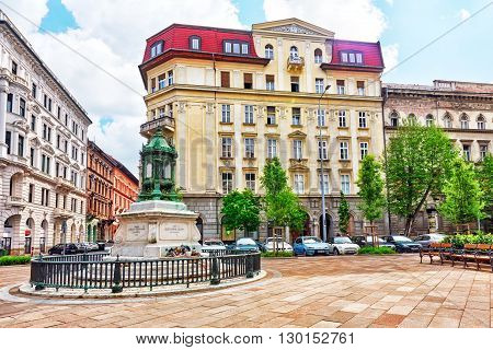 BUDAPEST, HUNGARY-MAY 04, 2016:Beautiful landscape urban viewcity streetspeoplearchitecture of the Budapest capital of Hungary.