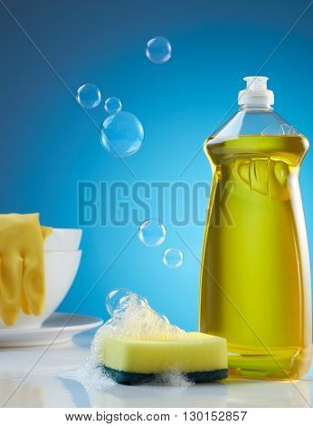 dishwashing products with bubbles soap and crockery
