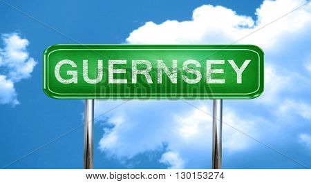 Guernsey vintage green road sign with highlights