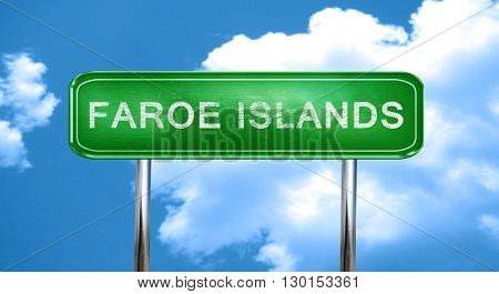 Faroe islands vintage green road sign with highlights