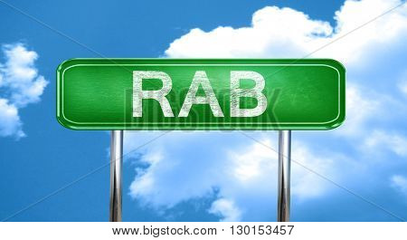 Rab vintage green road sign with highlights