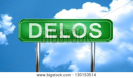 Delos vintage green road sign with highlights