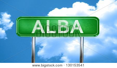 Alba vintage green road sign with highlights