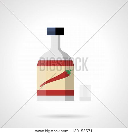 Red pepper bottle with label. Chili sauce for spicy food. Vegetable product for restaurant menu, cooking recipes. Flat color style vector icon.