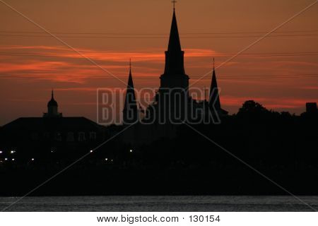 New Orleans St. Louis Cathedral At Sunset