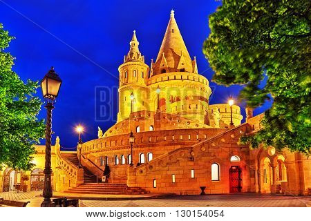 View On The Old Fishermen Bastion In Budapest. Night Time.