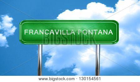 Francavilla fontana vintage green road sign with highlights