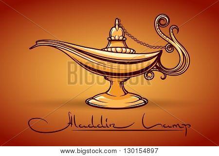 Aladdin Magic Lamp or Genie Lamp vector illustration
