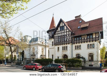 BUCHAREST ROMANIA - APR 2 2016: Beautiful building on Dacia boulevard in the center of Bucharest Romania