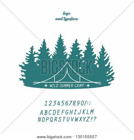 summer camp logo line-art concept with tent and trees silhouettes