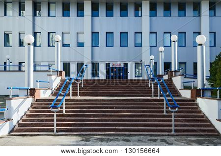 GOMEL BELARUS - APRIL 3 2016: Republican Scientific and Practical Center of Radiation Medicine and Human Ecology entrance to the receiving department
