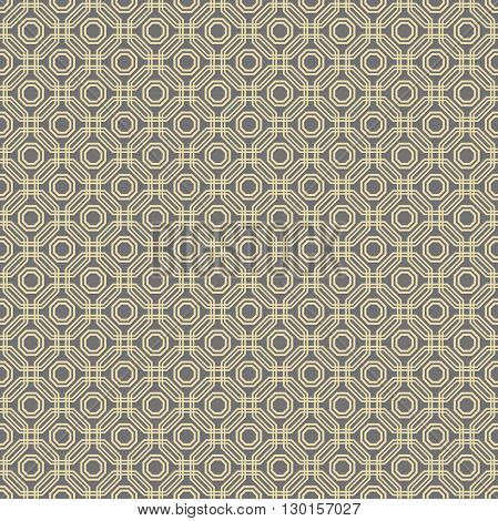 Geometric abstract vector background. Seamless modern pattern with golden octagons