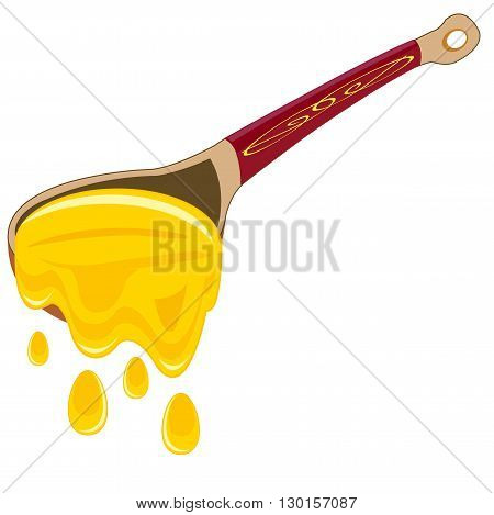 Wooden spoon with honey on white background is insulated