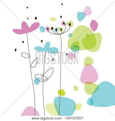 Floral greeting card with copy space Drawing