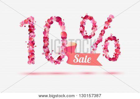 Ten (10) percents sale. Digits of pink rose petals