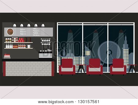 Modern Flat Design coffee shop interior with coffee bar and sofa nihgt city view background Vector Illustration.