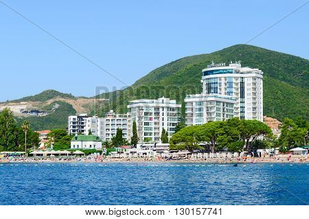 BUDVA MONTENEGRO - SEPTEMBER 19 2015: View from the sea to the Slavic beach in the resort town of Budva Montenegro