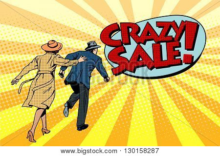 Crazy sale super discounts pop art retro style. The family runs to the store