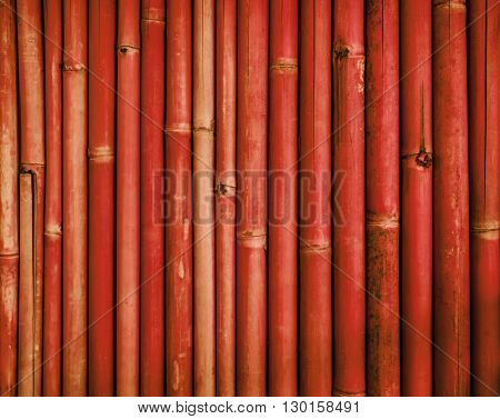 Red old bamboo fence wall texture background