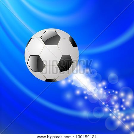 Sport Football Icon on Blue Blurred Wave Background