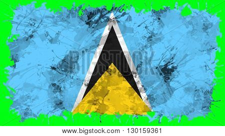 Flag of Saint Lucia painted with brush on solid background, ink texture.