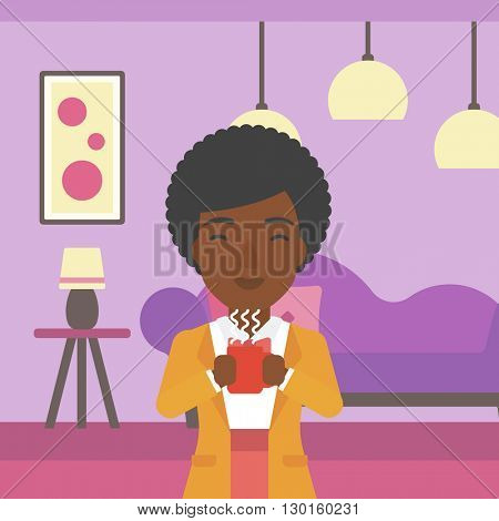 Woman sitting with cup of coffee.