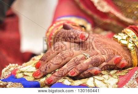 Hands of a Bride with Henna Tattoo