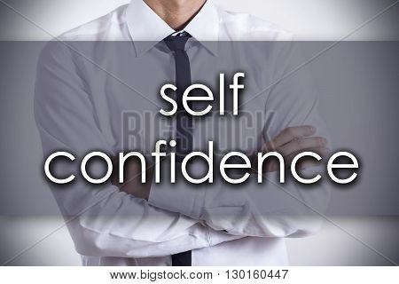 Self Confidence - Young Businessman With Text - Business Concept