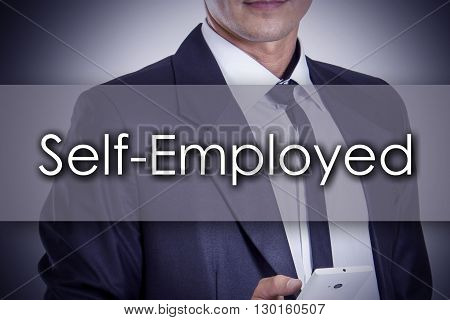 Self-employed - Young Businessman With Text - Business Concept