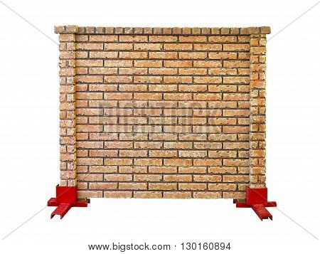 brick stone prefabricated fence section isolated over white background