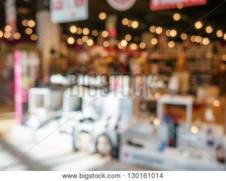 Shoe shop of shopping mall. Abstract background with shallow DOF