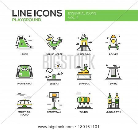 Set of modern vector line design icons and pictograms of children playground. Slide, spring horse, jungle gym, rocket, monkey bar, seasaw, sandbox, swing, merry-go-round, streetball, tunnel
