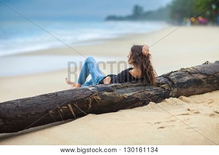 beautiful woman relax on the beach. vacation concept